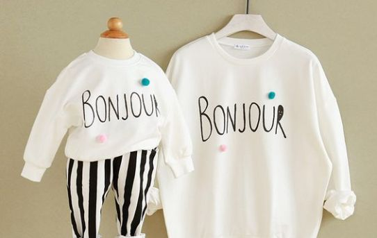 Bonjour Print Long-sleeve White Pullover Family Matching