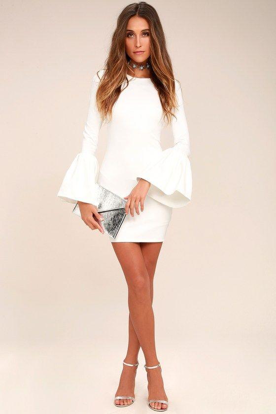 DOUBLE FLAIR WHITE LONG SLEEVE BODYCON DRESS