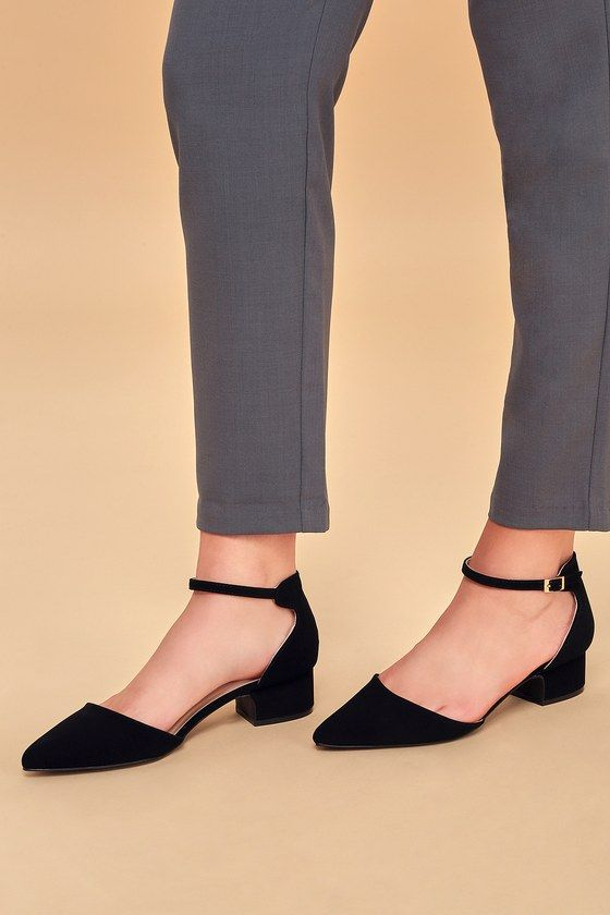 LUCINDA BLACK NUBUCK ANKLE STRAP PUMPS
