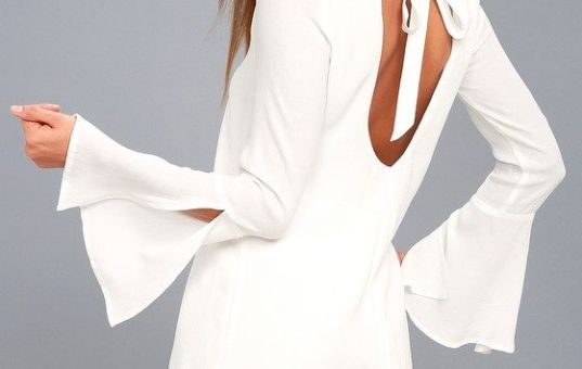 BE THE ONE WHITE LONG SLEEVE BACKLESS SHIFT DRESS