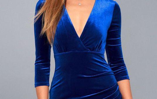ANYTHING FOR YOU ROYAL BLUE VELVET BODYCON DRESS