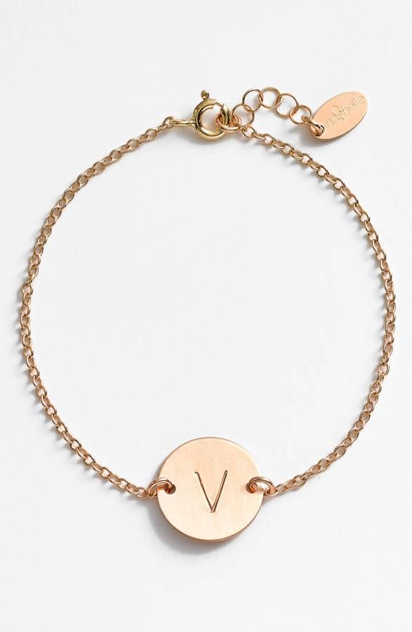 14k-Gold Fill Initial Disc Bracelet