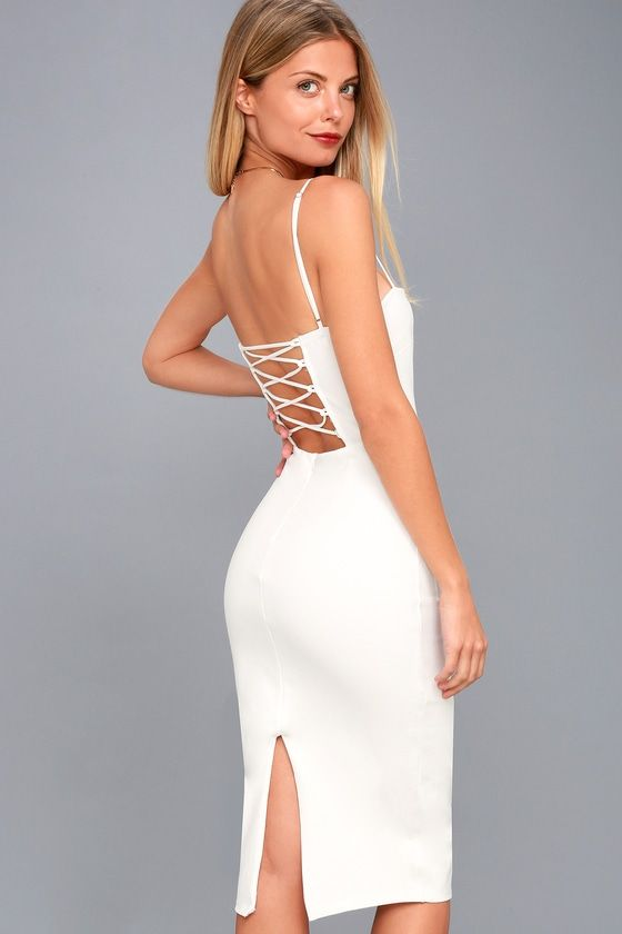 CAPTIVATED LOVE WHITE LACE-UP BODYCON DRESS