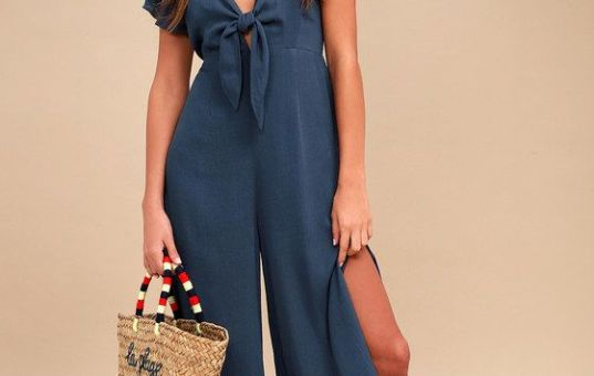 PLEASE AND THANKS TEAL BLUE TIE-FRONT CULOTTE JUMPSUIT