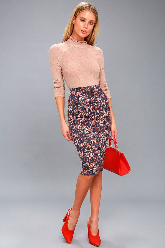 ALL THE FIELDS NAVY BLUE FLORAL PRINT BODYCON MIDI SKIRT
