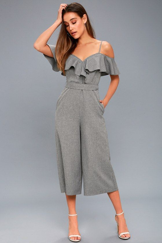 TOP OF THE CLASS GREY STRIPED OFF-THE-SHOULDER MIDI JUMPSUIT
