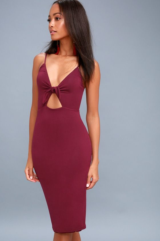 LOVE ME KNOT BURGUNDY BODYCON MIDI DRESS...Get The look!!