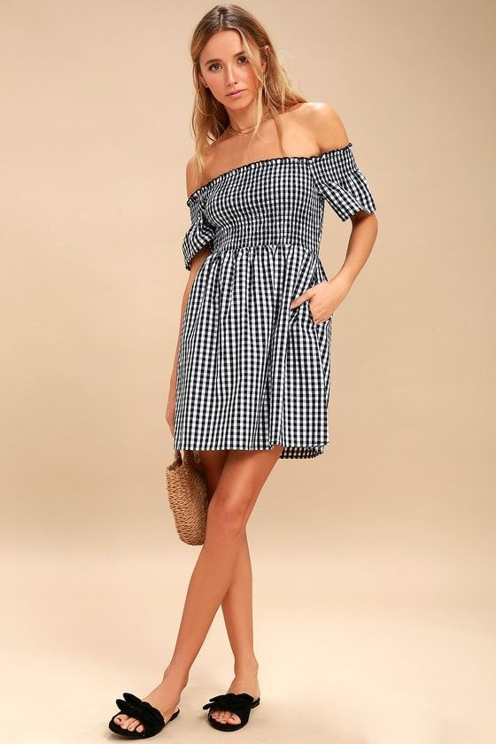 HAPPY AND PLAID BLACK AND WHITE GINGHAM OFF-THE-SHOULDER DRESS