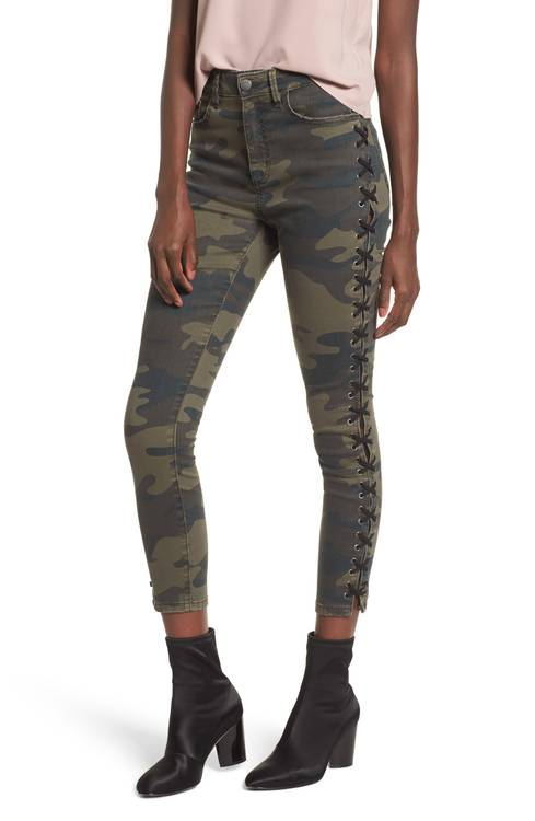 Lace Up Camo Crop Skinny Jeans AFRM