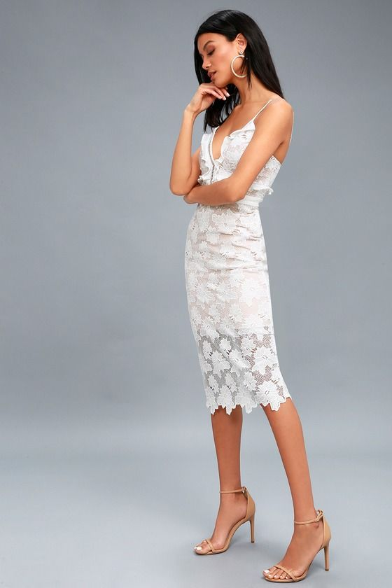 bb105ca9bb28d9 VIENNA WHITE LACE MIDI DRESS BARDOT | Petite Looloo