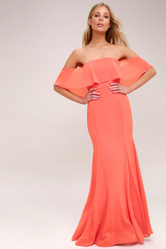 ALL MY HEART CORAL PINK OFF-THE-SHOULDER MAXI DRESS