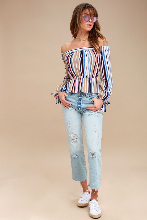 FILLED WITH GLEE PINK STRIPED OFF-THE-SHOULDER TOP