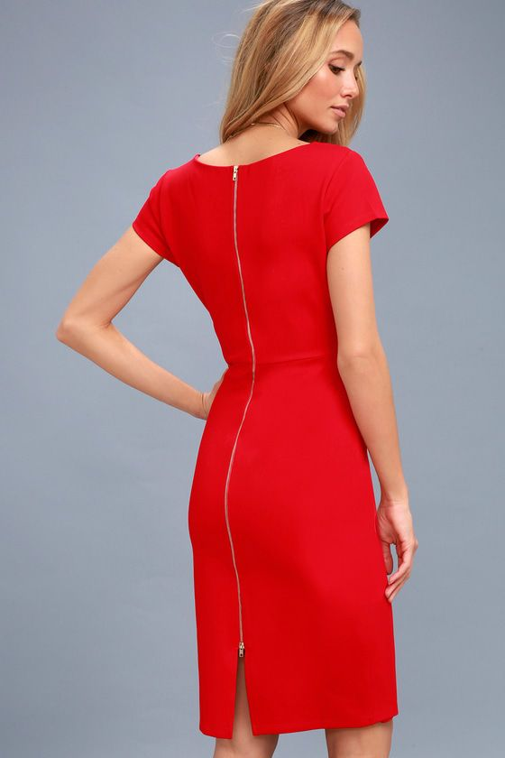 BUSINESS OF LOVE RED BODYCON MIDI DRESS