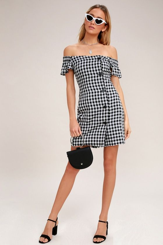 CHECK PLEASE BLACK AND WHITE GINGHAM OFF-THE-SHOULDER DRESS