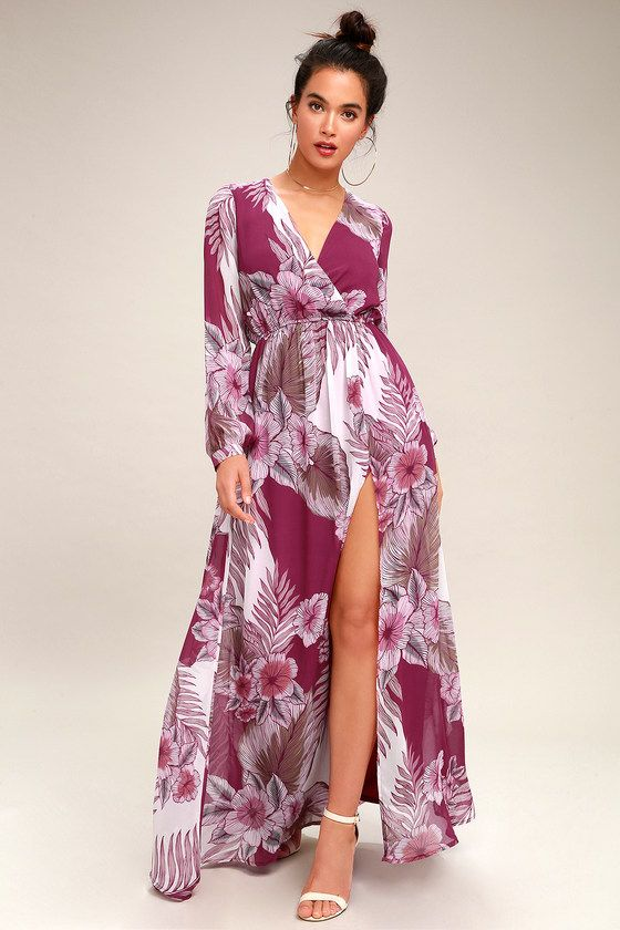 WONDROUS WATER LILIES MAGENTA FLORAL PRINT MAXI DRESS