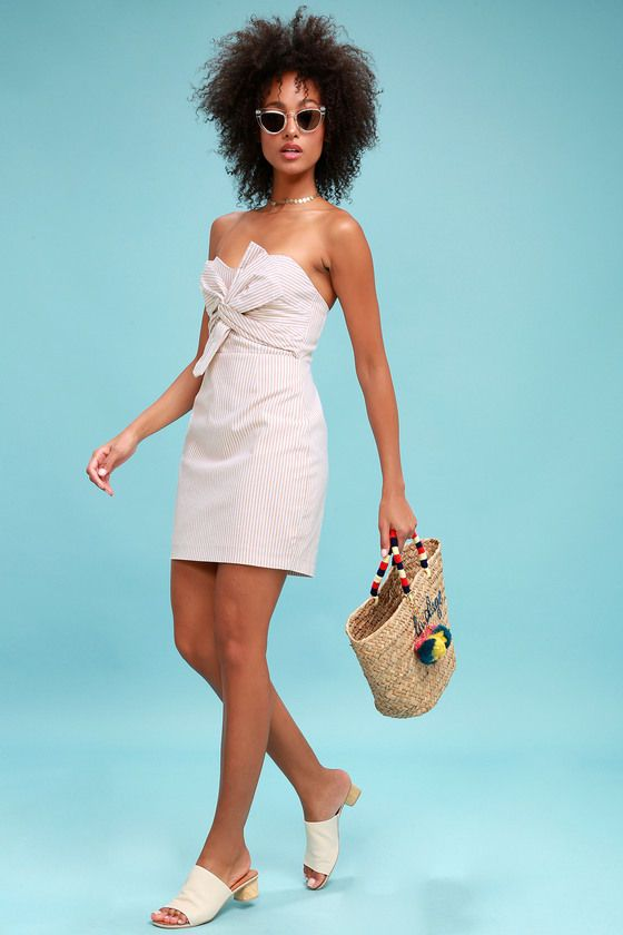 NEWPORT BEIGE AND WHITE STRIPED KNOTTED STRAPLESS DRESS