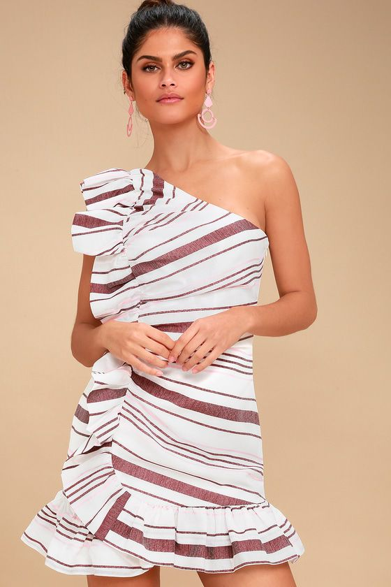 C/MEO ON HER OWN IVORY STRIPED RUFFLED ONE-SHOULDER DRESS