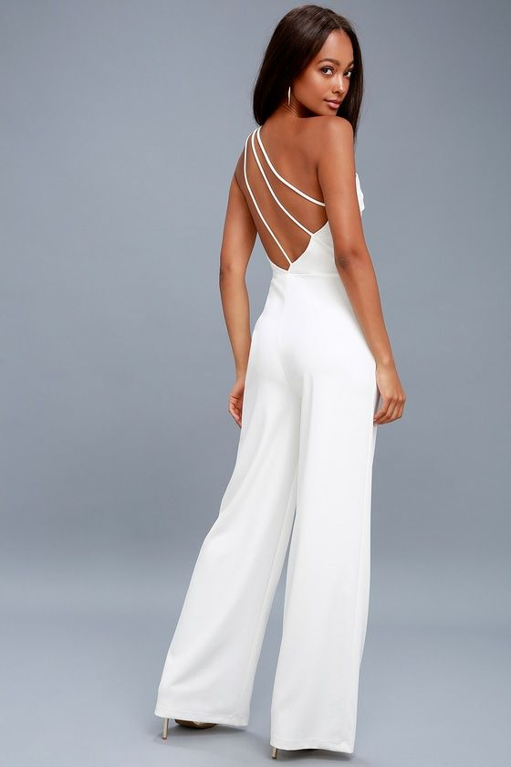GOING SOLO WHITE ONE-SHOULDER BACKLESS JUMPSUIT