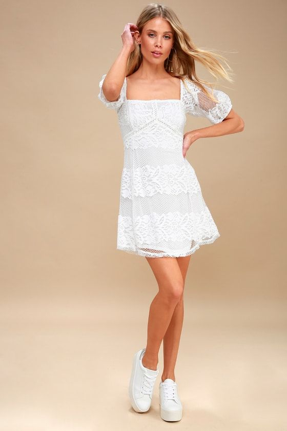 BE YOUR BABY WHITE LACE BABYDOLL DRESS
