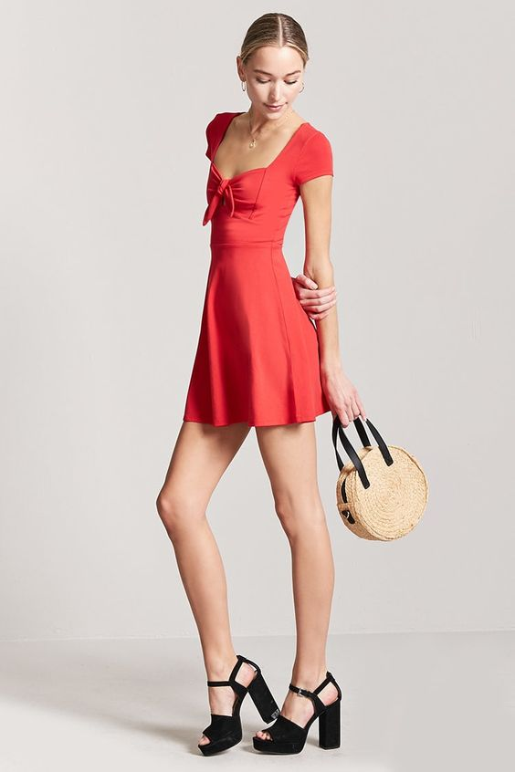 Tie-Front Cutout Mini Dress