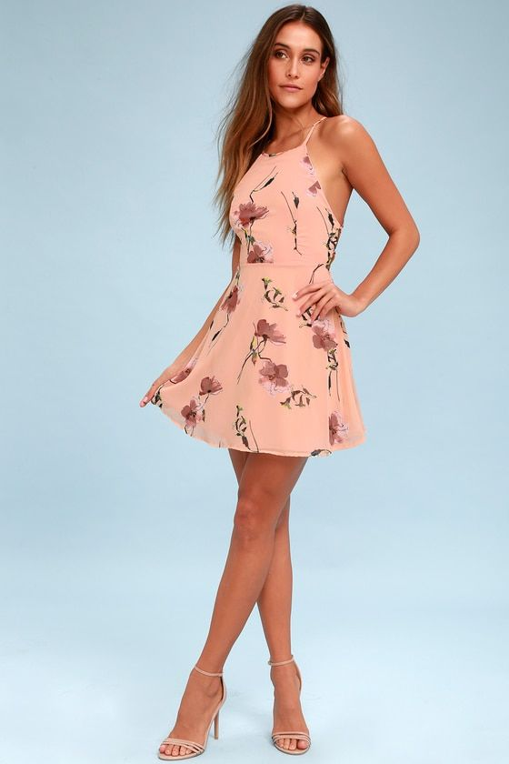 CHERISHED MOMENT BLUSH PINK FLORAL PRINT LACE-UP SKATER DRESS