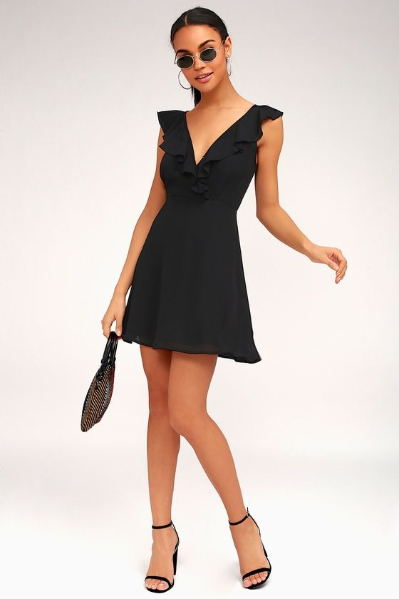 TRIANA BLACK RUFFLED BACKLESS DRESS