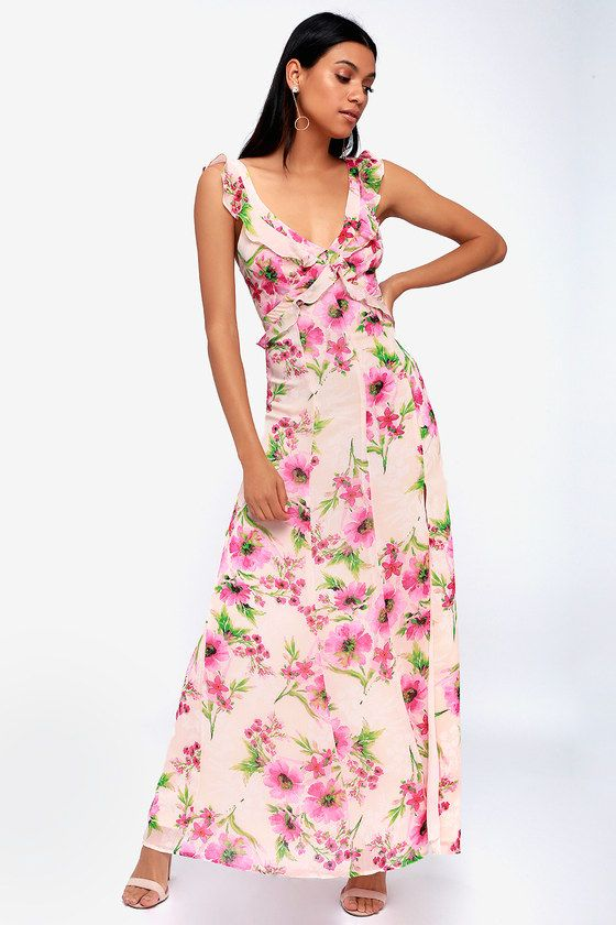 FEELING FLEUR-TY BLUSH PINK FLORAL PRINT RUFFLED MAXI DRESS
