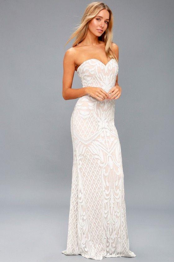 OLIVIA WHITE SEQUIN STRAPLESS MAXI DRESS