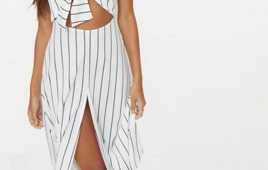 WHITE PINSTRIPE TIE FRONT STRAPPY SWING DRESS