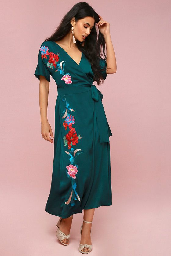 JOSEPHINA FOREST GREEN EMBROIDERED WRAP MAXI DRESS