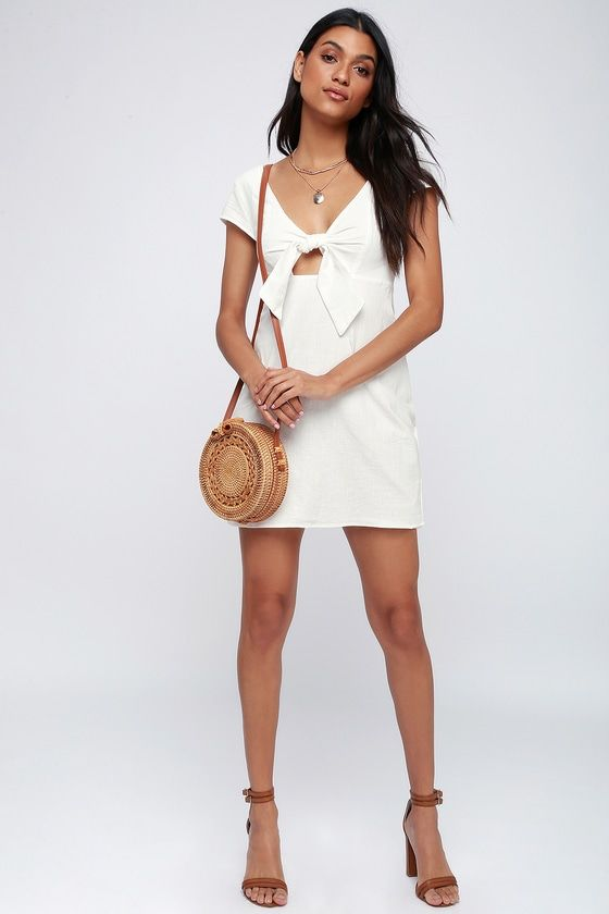 TIE-FRONT SWEETHEART OFF WHITE MINI DRESS