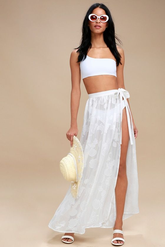 TAKE THE CAICOS WHITE SHELL PRINT COVER-UP MAXI SKIRT