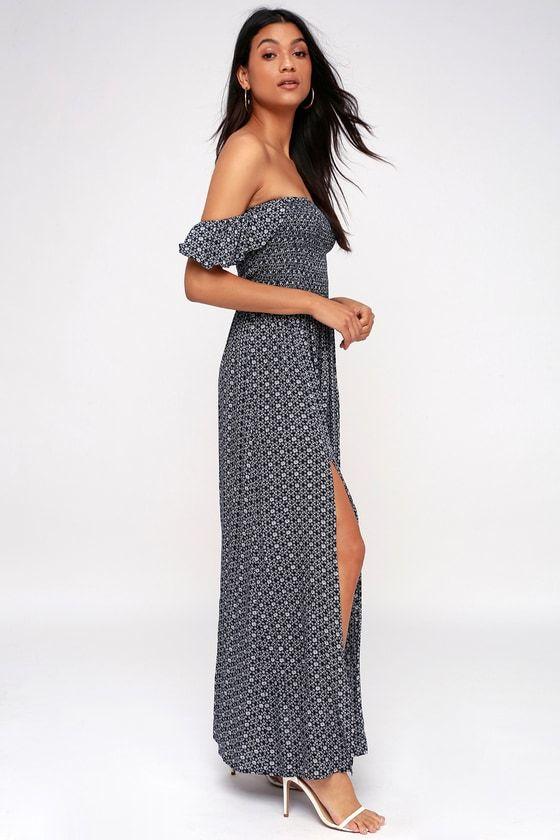 CATCH THE SUN NAVY BLUE PRINT OFF-THE-SHOULDER MAXI DRESS