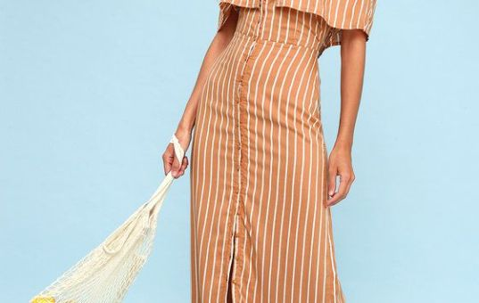 ROUNDABOUT LIGHT BROWN STRIPED BUTTON-UP OFF-THE-SHOULDER DRESS