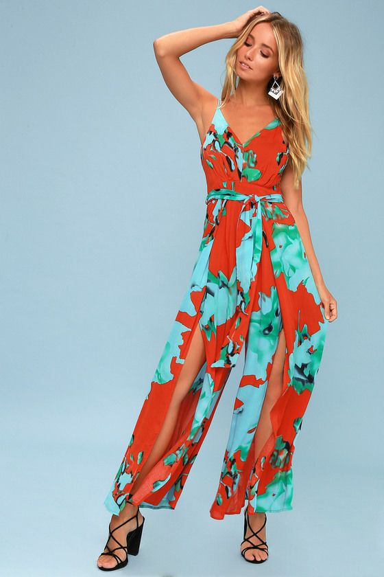 ALINA CORAL RED FLORAL PRINT WIDE-LEG JUMPSUIT