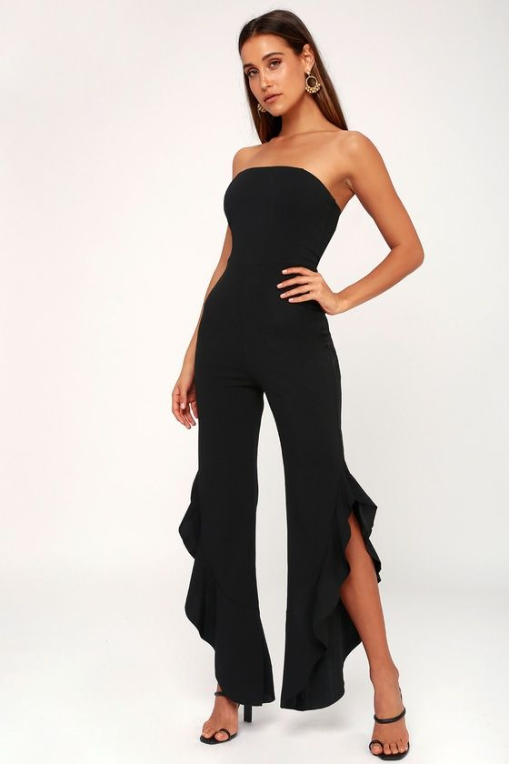 AFTER MIDNIGHT BLACK STRAPLESS RUFFLE LEG JUMPSUIT