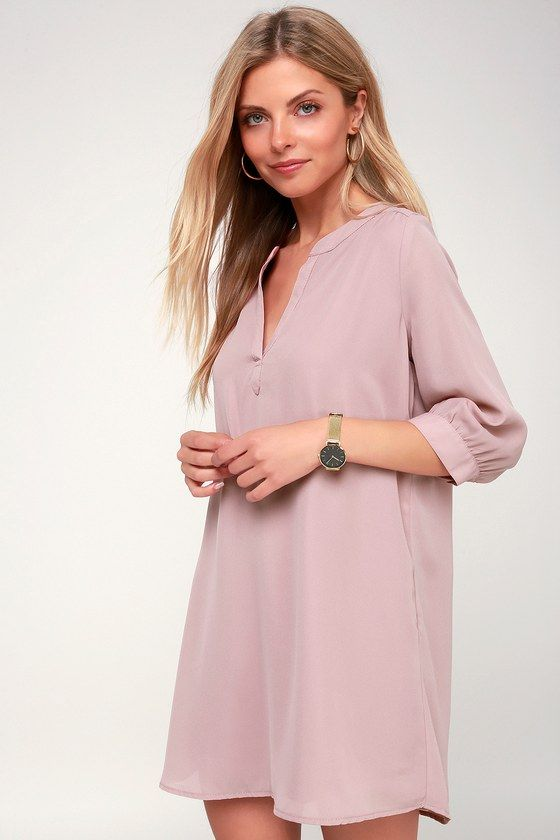 HIGH LINE MAUVE SHIFT DRESS