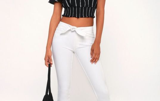 HOXTON WHITE TIE-FRONT HIGH-WAISTED SKINNY JEANS
