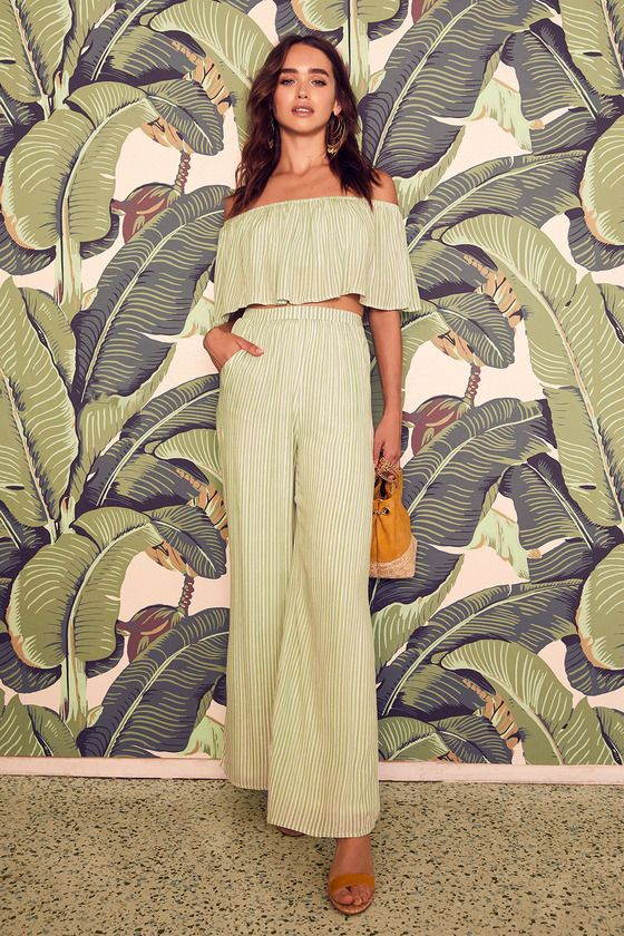 BIRCH SAGE GREEN STRIPED OFF-THE-SHOULDER TWO-PIECE JUMPSUIT