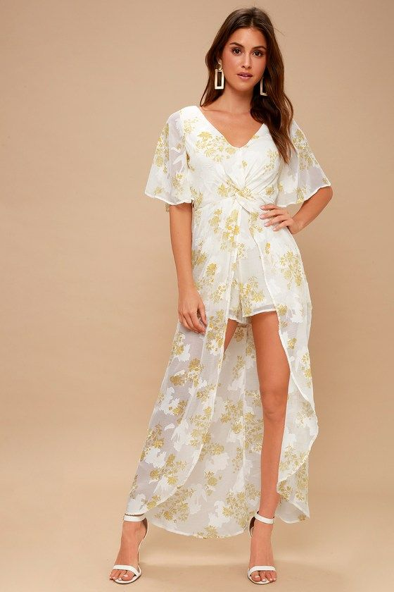 LUNA WHITE AND YELLOW FLORAL PRINT MAXI ROMPER