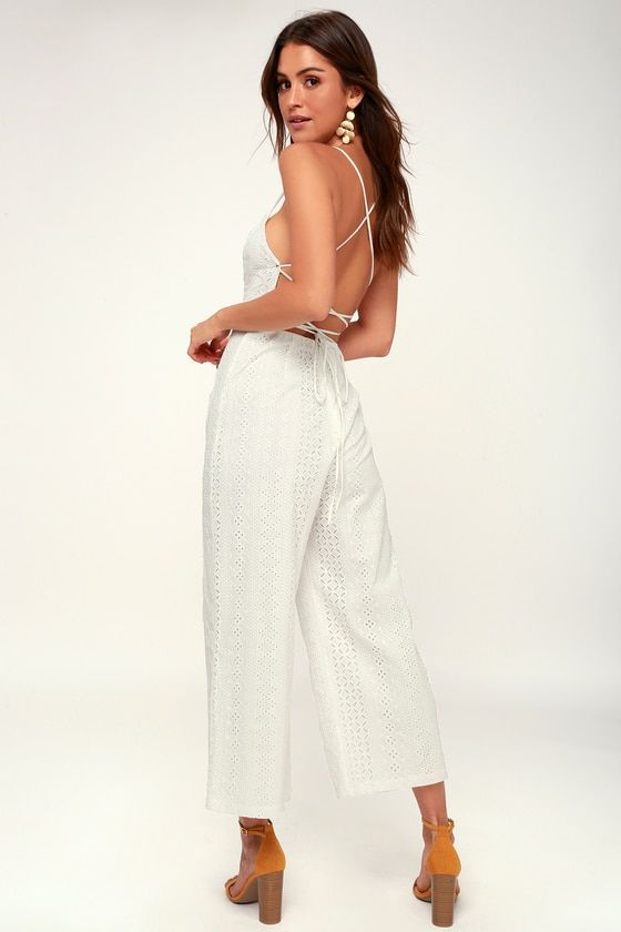 LEIGHTON WHITE LACE LACE-UP CULOTTE JUMPSUIT
