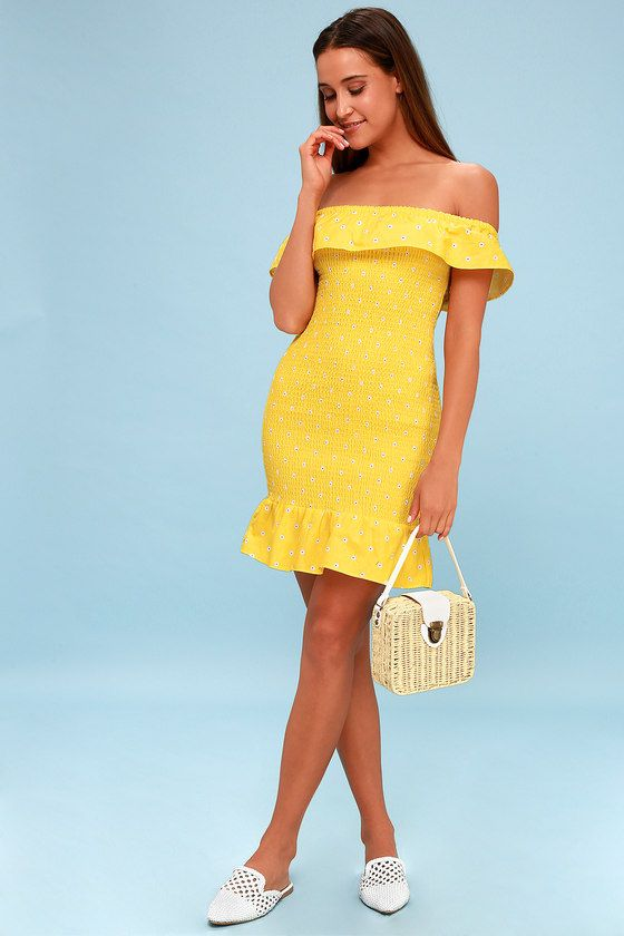 FIESTA YELLOW FLORAL PRINT SMOCKED OFF-THE-SHOULDER DRESS