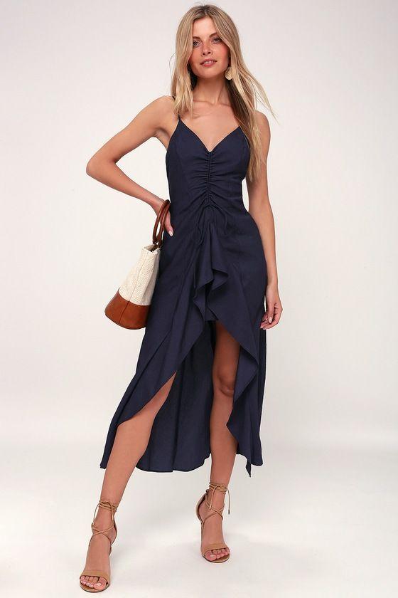 DANCING ALL NIGHT BLUE RUFFLE HIGH-LOW DRESS