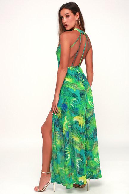 TROPIC OF DISCUSSION GREEN TROPICAL PRINT MAXI DRESS
