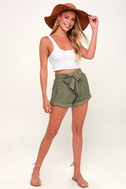 SPELL WASHED OLIVE GREEN TIE-FRONT SHORTS