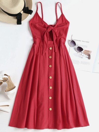 Smocked Tie Front Cami Dress