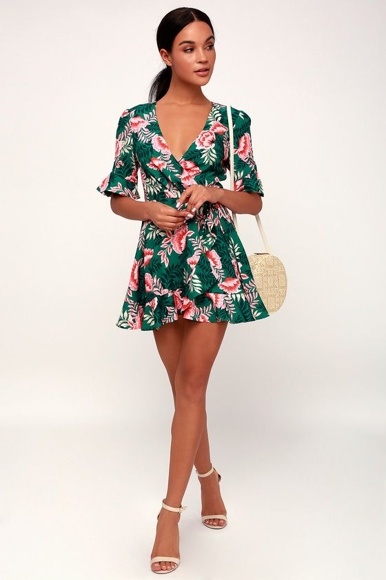 SONGBIRD GREEN FLORAL PRINT WRAP DRESS