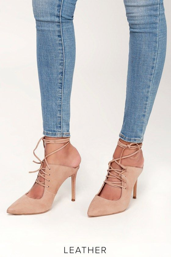 LARA BLUSH KID SUEDE LEATHER LACE-UP POINTED TOE MULES