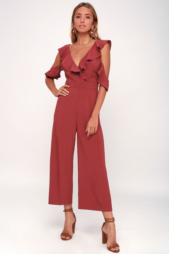 DOOZY RUST RED RUFFLED WIDE-LEG OFF-THE-SHOULDER JUMPSUIT