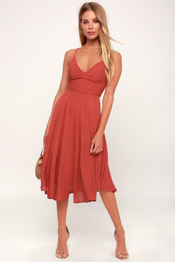 TROULOS RUST RED LACE-UP MIDI DRESS